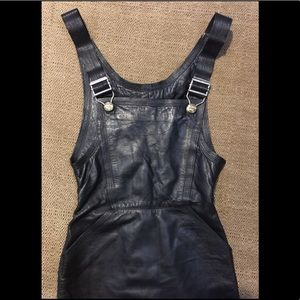 VERSACE Leather Pinafore Dress Size S
